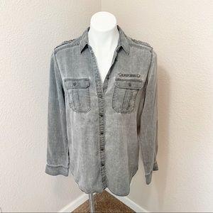 3/$25 Express Boyfriend Fit Gray Button Down